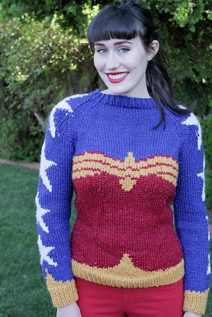 Wonder Woman Sweater Free Knitting Pattern and more super hero knitting patterns