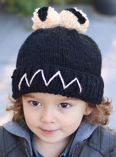 Knitting Pattern for Cute Monster Pompom Hat