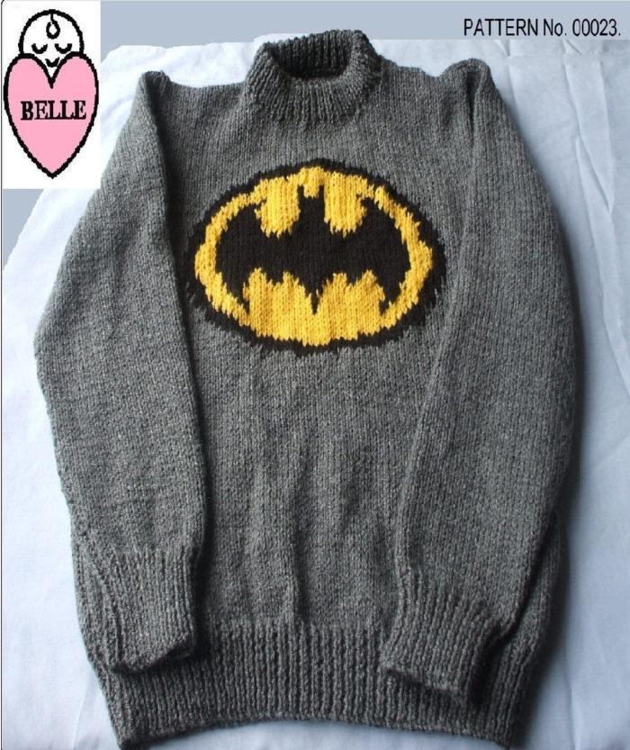 Knitting Pattern for Batman Sweater