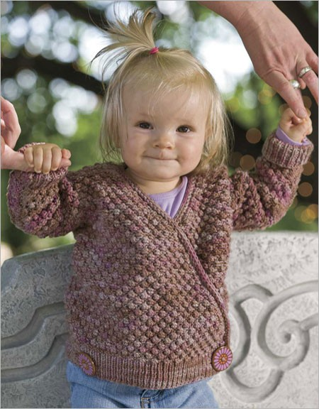Knitting pattern for Blackberry Wrap baby cardigan sweater