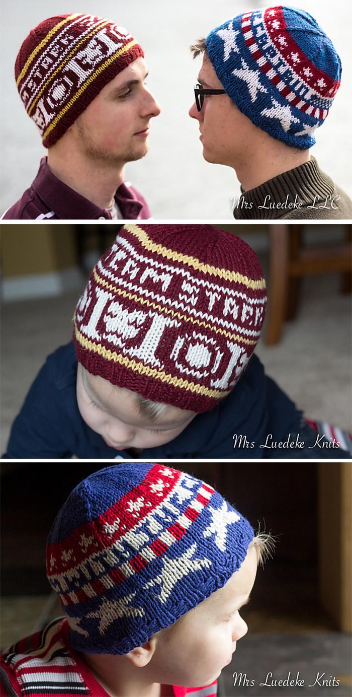 Free Knitting Pattern for Superhero Civil War Hats