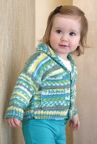 Knitting kit for Shawl-Collar Baby Cardigan Kit Knit in simple stockinette with ribbed edgings, this sweet baby cardigan really shows off a self-patterning yarn.