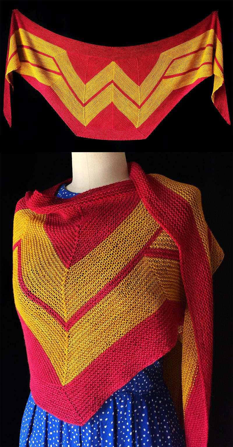 Free Knitting Pattern for Wonder Woman Wrap