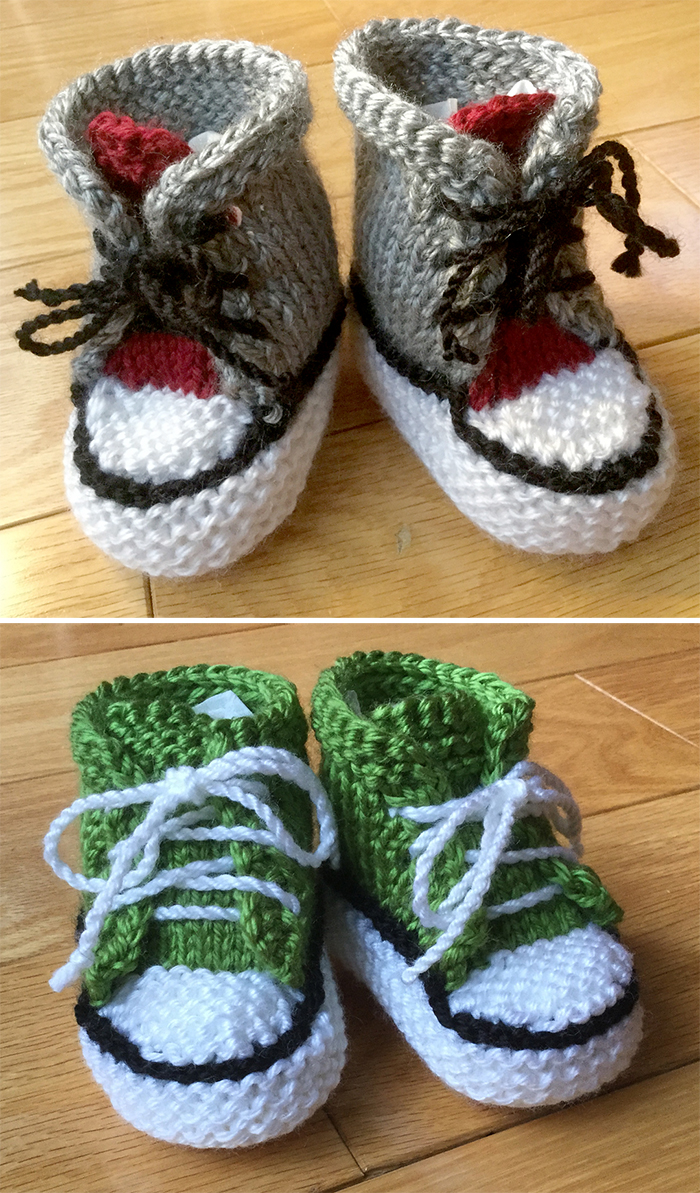 Free Knitting Pattern for Little Converse Booties