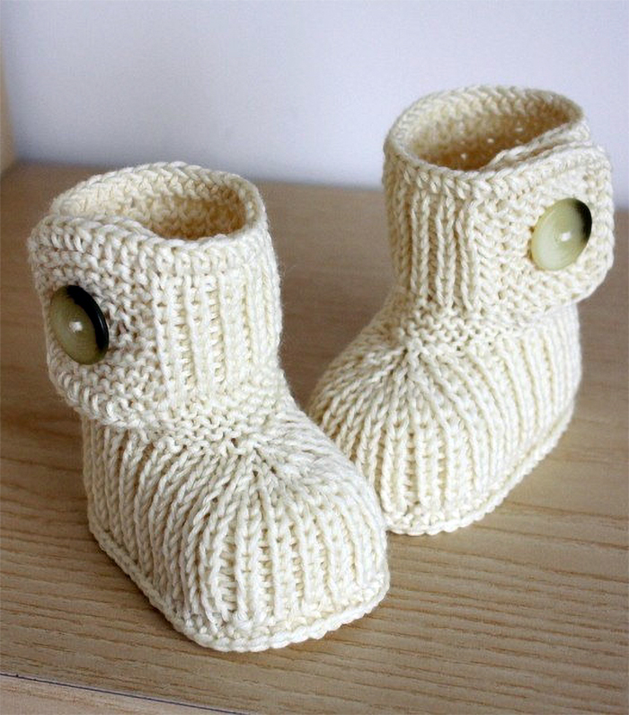 Knitting Pattern for Button Cuff Baby Boots