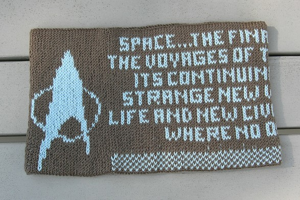 Free knitting pattern for Where No One Has Gone Before Cowl and more Trek inspired knitting patterns
