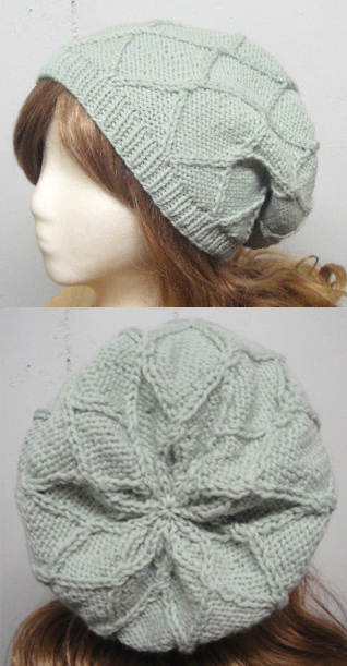 Knitting pattern for Ida Slouch Hat beanie with diamond pattern and star shaping at crown