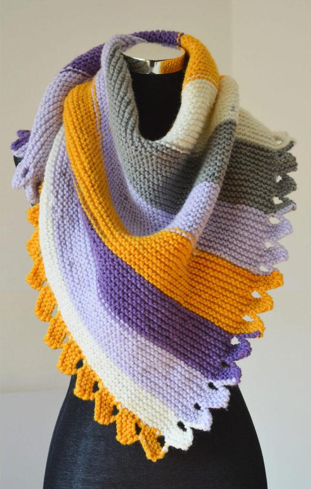Free Knitting Pattern for Dragon Tail Shawl