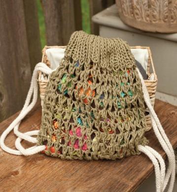 Knitting pattern for Drawstring Tote