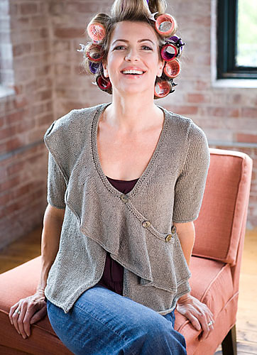 Free knitting pattern for Egret wrap cardigan with flounce cardigan