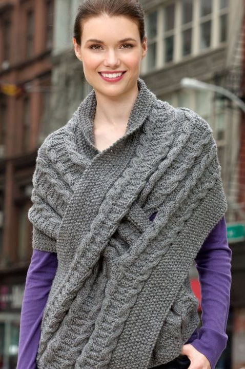 Free knitting pattern for Pull Through Cable Wrap