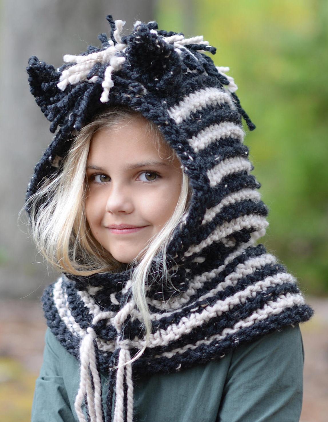 Knitting Pattern for Zebra Hood Cowl