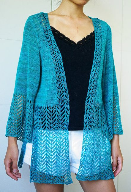 Knitting pattern for Minimi Lace Cardigan Beach Cover Up