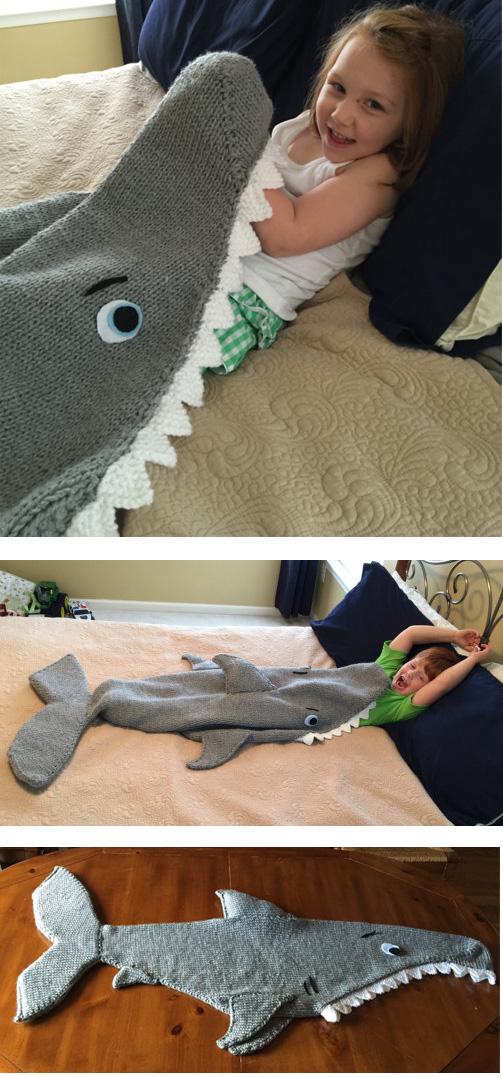 Knitting pattern for Shark Attack Blanket