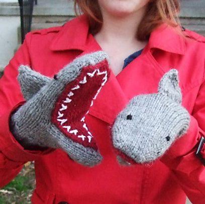 Knitting pattern for Shark Mittens