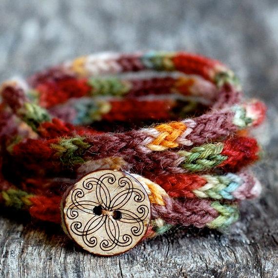 Knitting Pattern for Boho I-Cord Bracelet