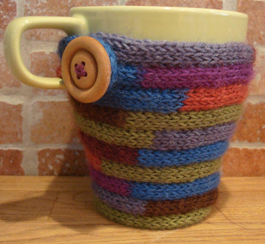 Free Knitting Pattern for I-Cord Mug Cozy