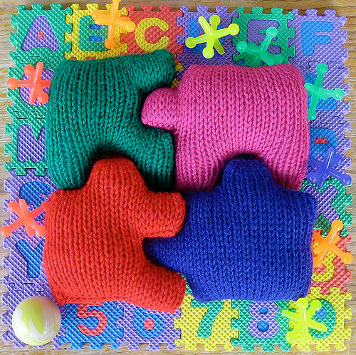 Free Knitting Pattern for Soft Toy Puzzle for Baby