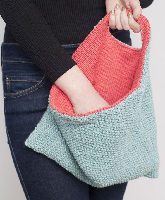 Free Knitting Pattern for Reversible Bag
