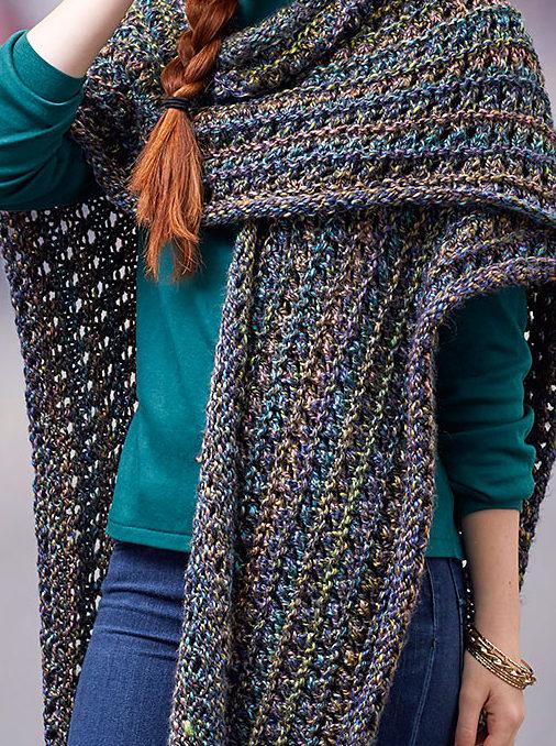 Free Knitting Pattern for Woodland Ruana Wrap
