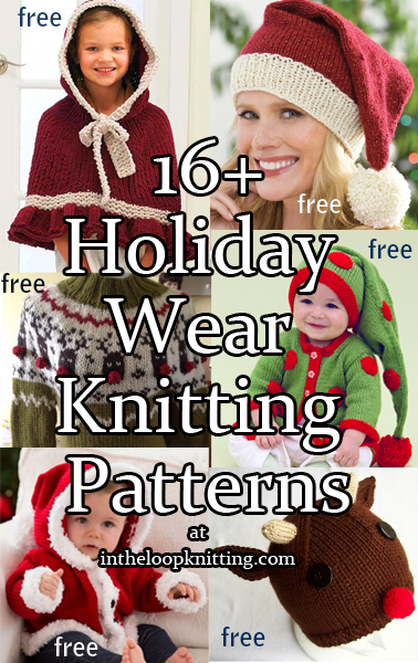 Knitting Patterns for Christmas Holiday sweaters, hats, baby sets