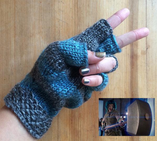 Free Knitting Pattern for Ramona Flowers Fingerless Gloves