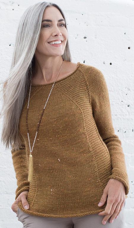 Knitting Pattern for Easy Terra Garter Raglan Pullover