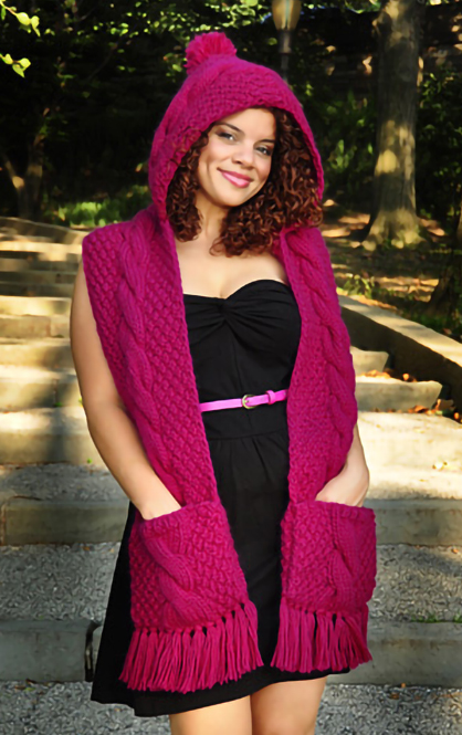 Knitting Pattern for Trifecta Hooded Scarf With Pockets
