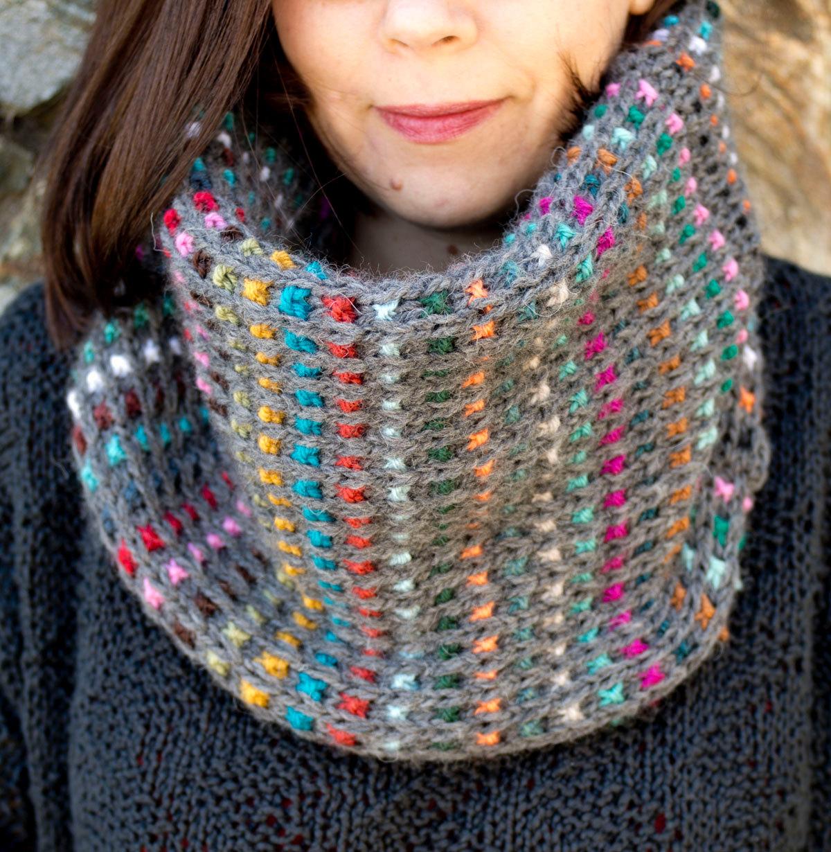 Knitting Pattern for Easy Dunkelbunt Cowl