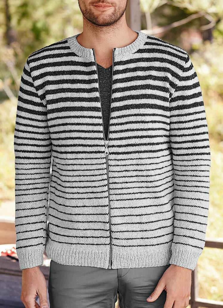 Knitting Pattern for Men's Zipped Jacket