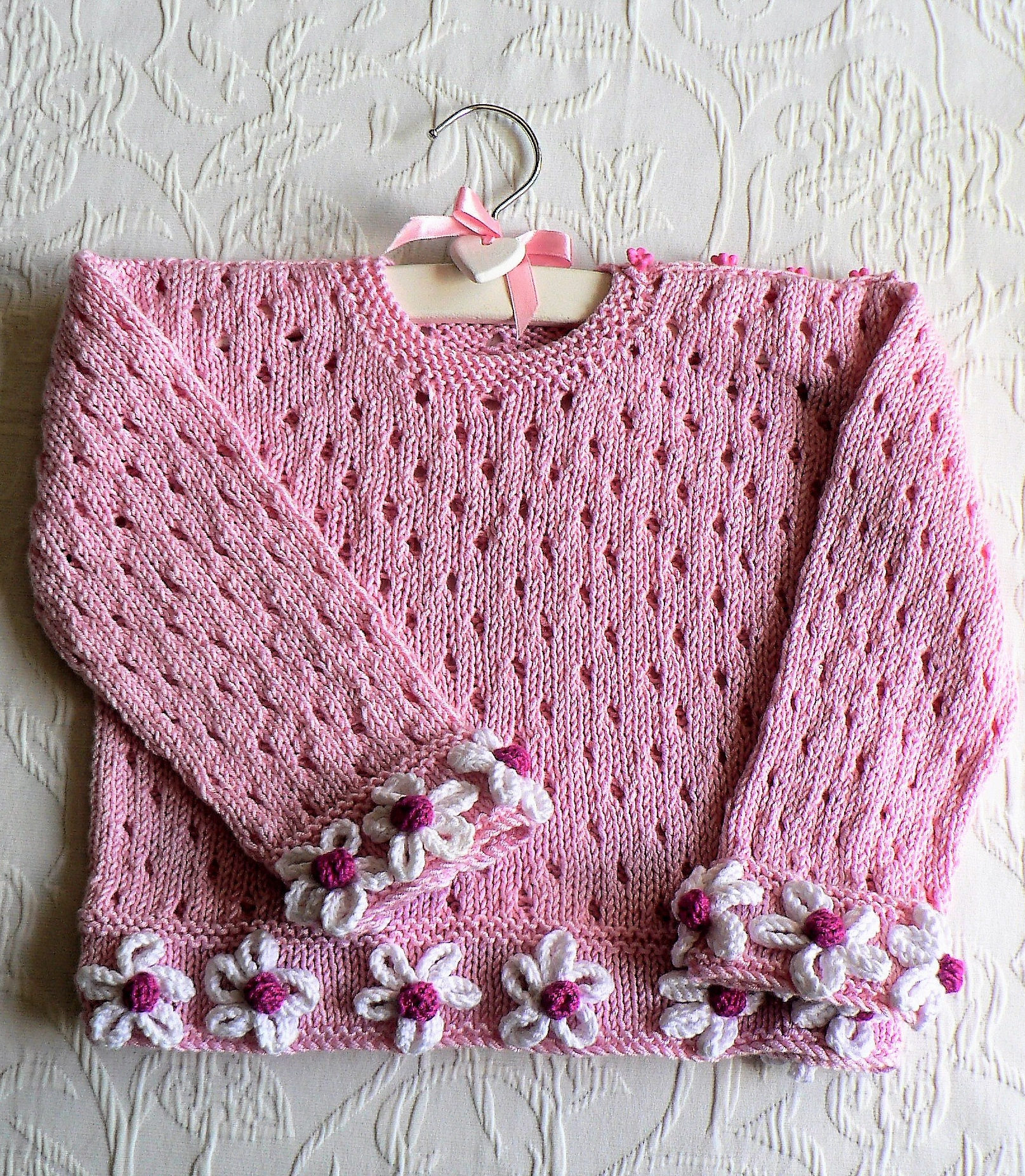 Knitting Pattern for Daisy Days Baby Sweater