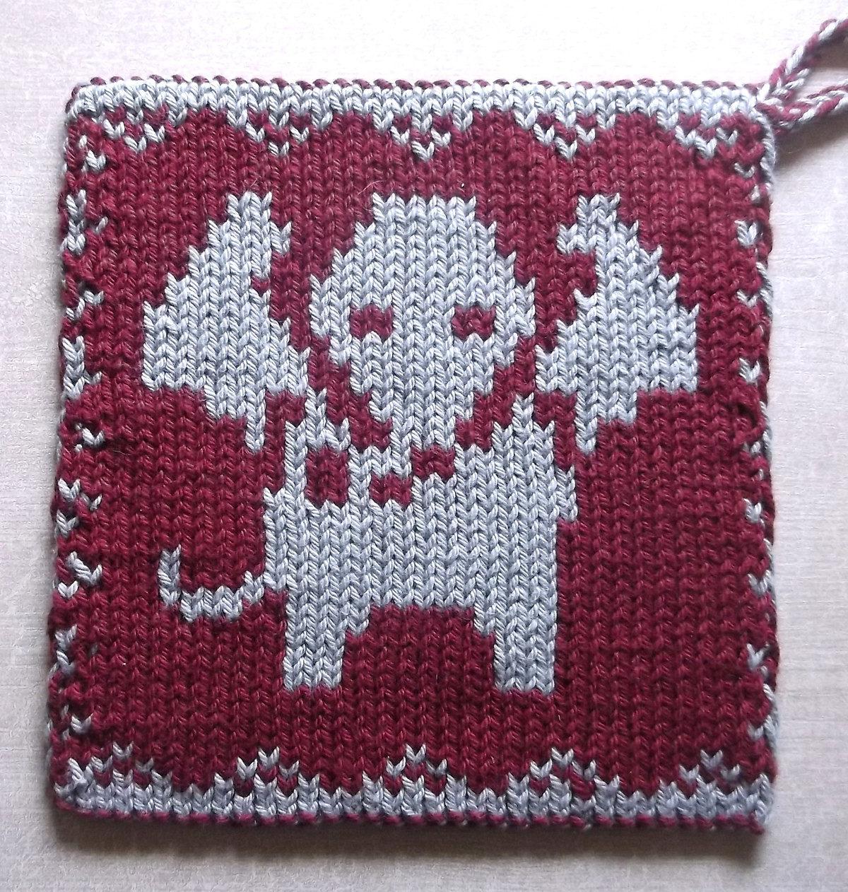 Free Knitting Pattern for Elephant Pot Holder