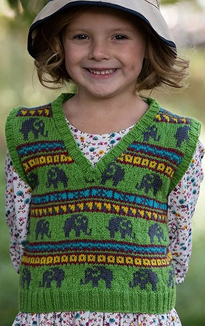 Knitting Pattern for Elephant Vest for Adults and Children