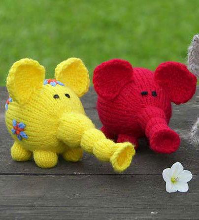 Free Knitting Pattern for Flower Power Elephants