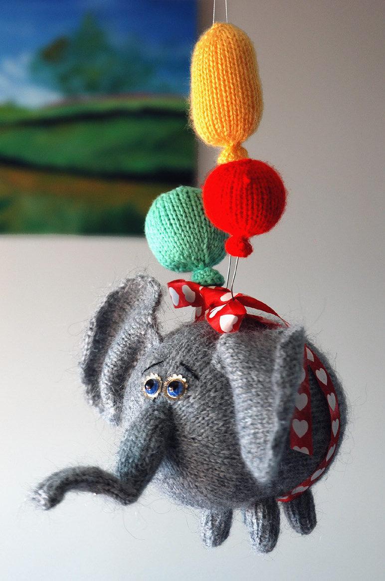 Knitting Pattern for Flying Elephant Toy