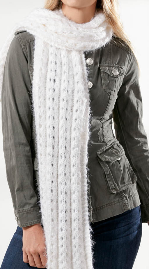 Free Knitting Pattern for 4 Row Repeat Angel Hair Super Scarf