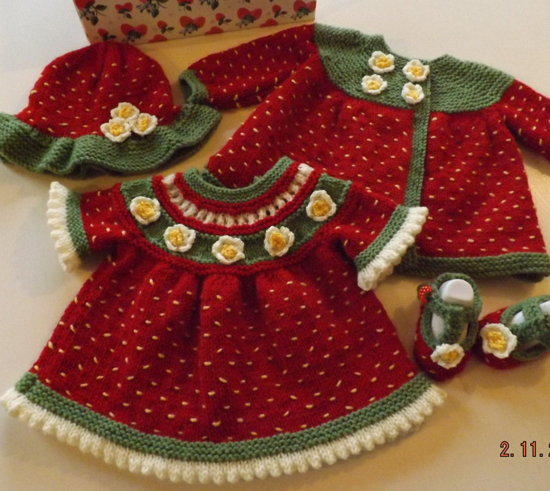 Knitting Pattern for Strawberry Baby Matinee Set