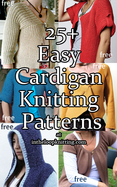 Knitting Patterns for Easy Cardigan Sweaters. Most patterns are free
