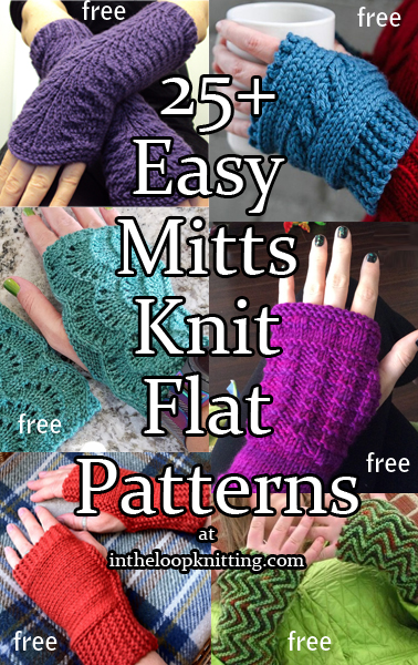 Easy Mitts Knit Flat Knitting Patterns