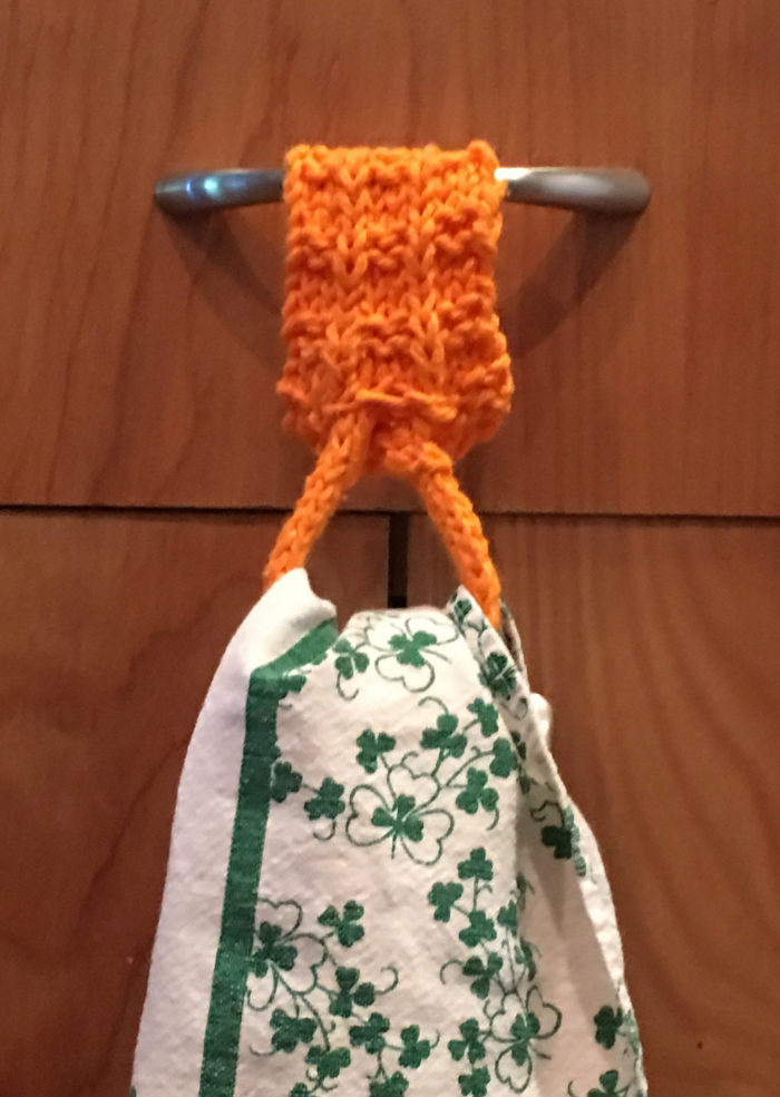 Free Knitting Pattern for Kitchen Towel Holder