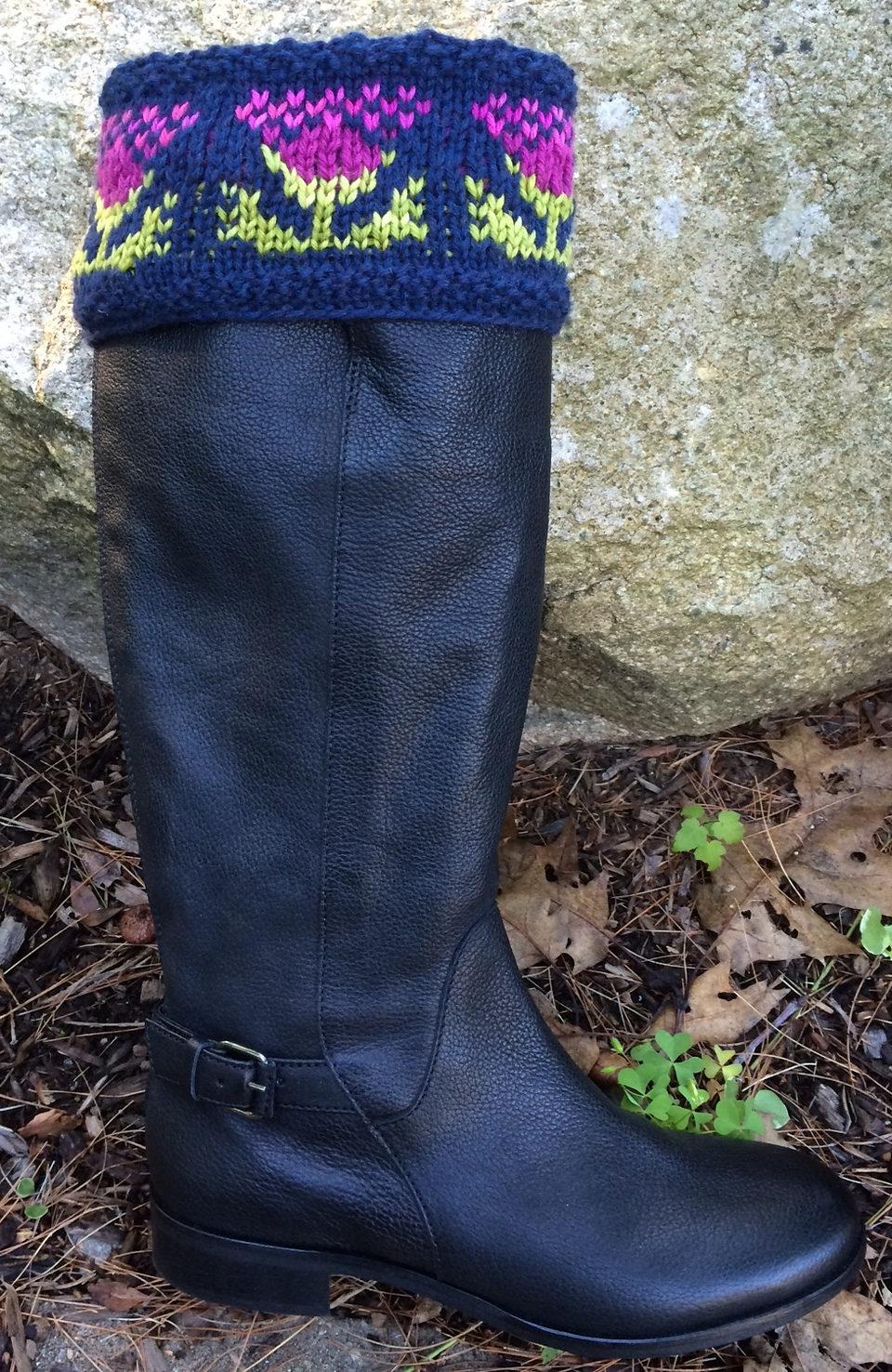 Free Knitting Pattern for Muir Glenn Thistle Boot Toppers