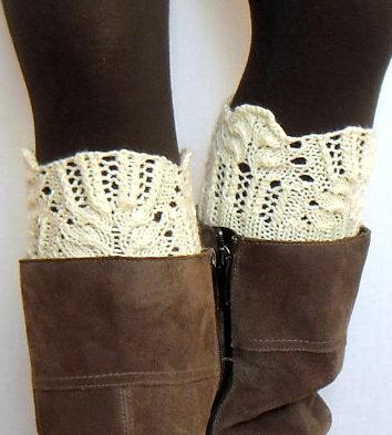 Knitting Pattern for Winter Flower Boot Cuffs