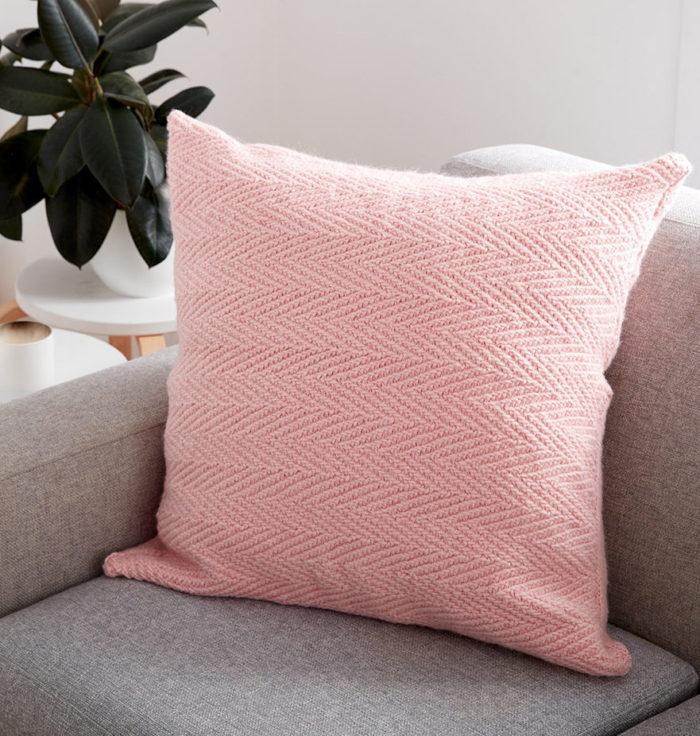 Free Knitting Pattern for Herringbone Pillow