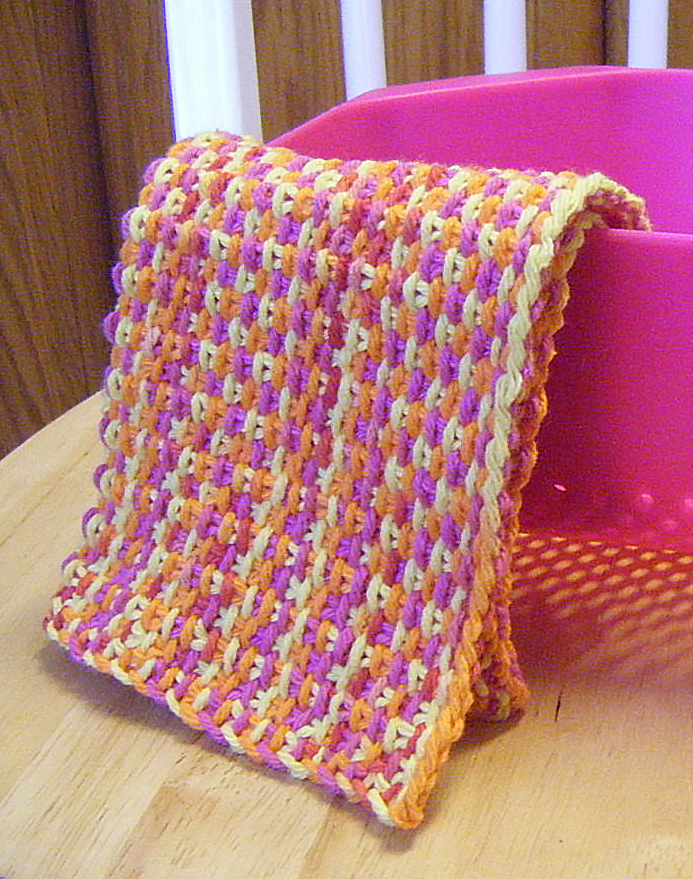 Free Knitting Pattern for Linen Stitch Dish Cloth