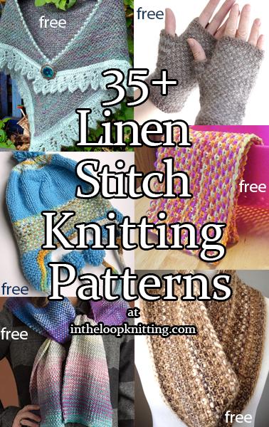 Knitting Patterns using Linen Stitch. Most patterns are free.