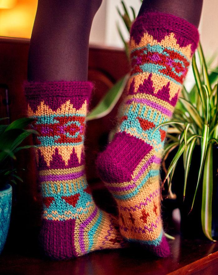 Free Knitting Pattern for Aztec Socks