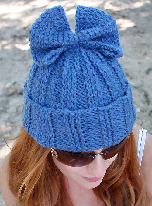 Free Knitting Pattern for Bow Hat