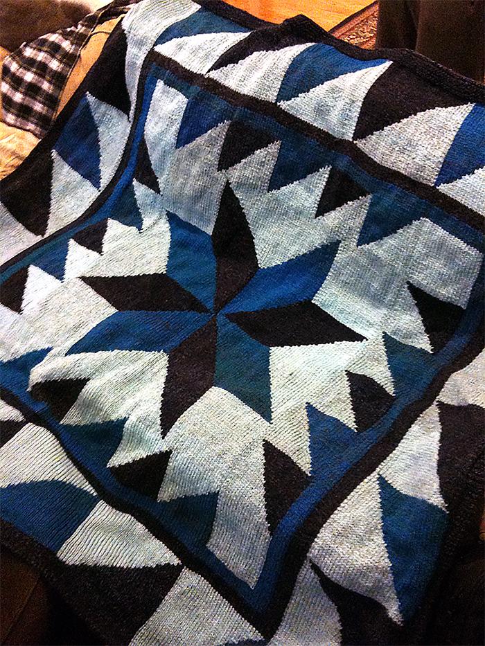 Free Knitting Pattern for Homespun Pinwheel Afghan
