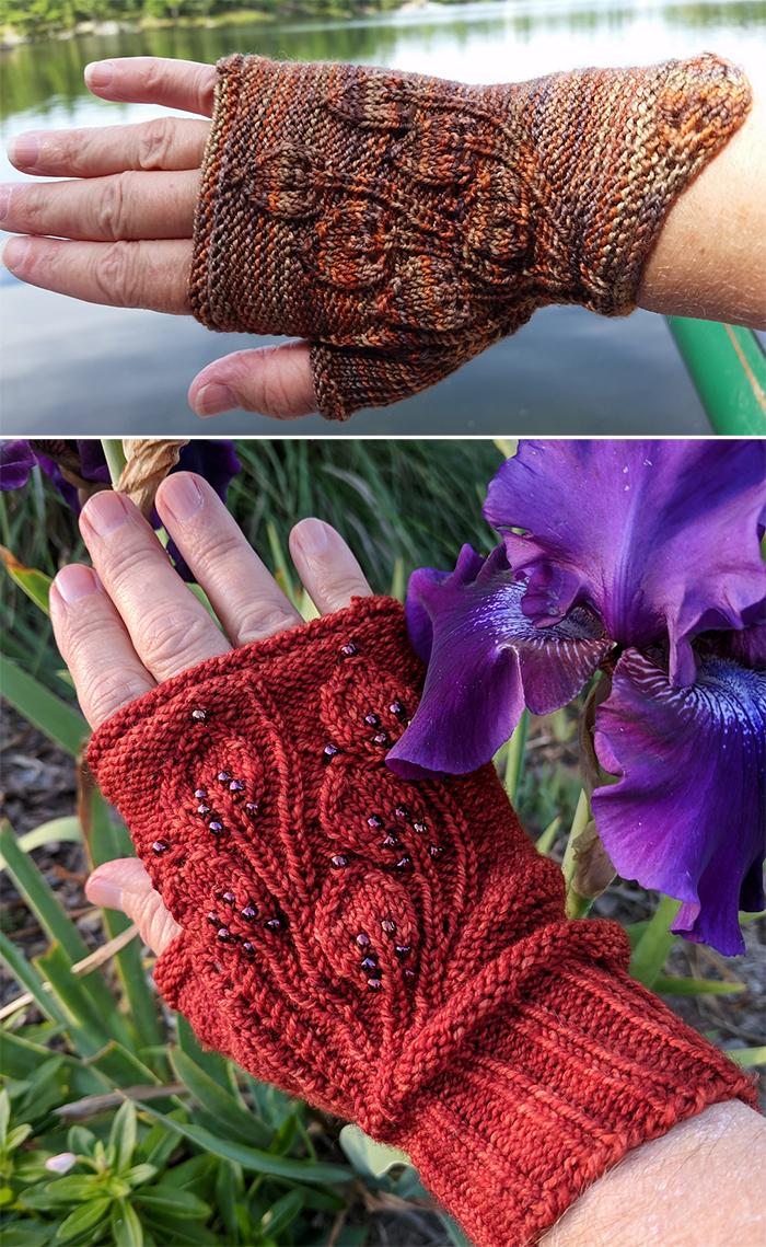 Free Knitting Pattern for Grandifolia Fingerless Mitts