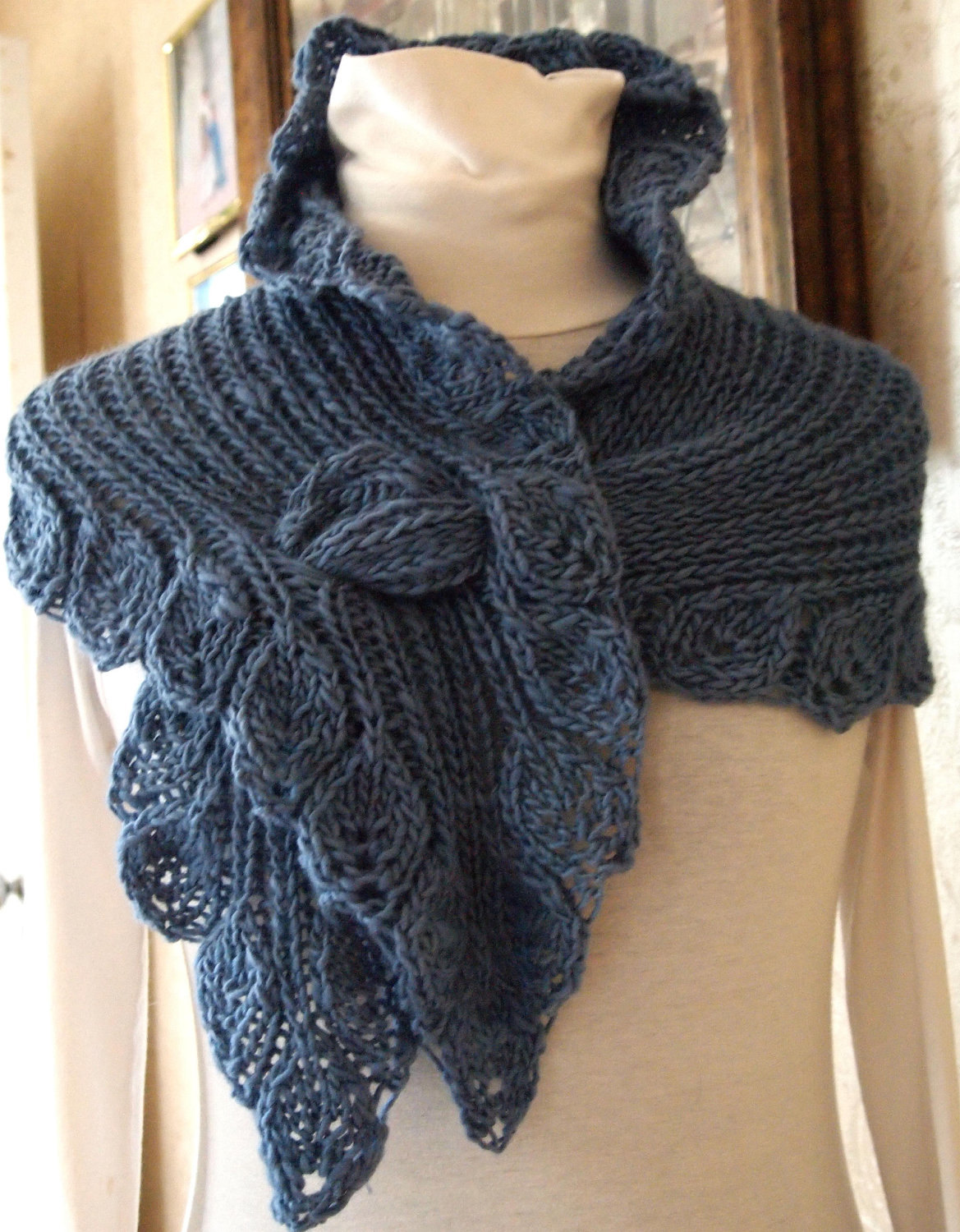 Knitting Pattern for Self-Fastening Leaf Lace Wrap